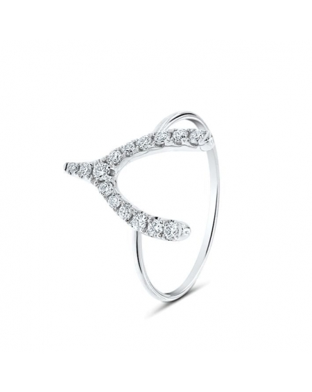 Wishbone Ring in 18k White Gold