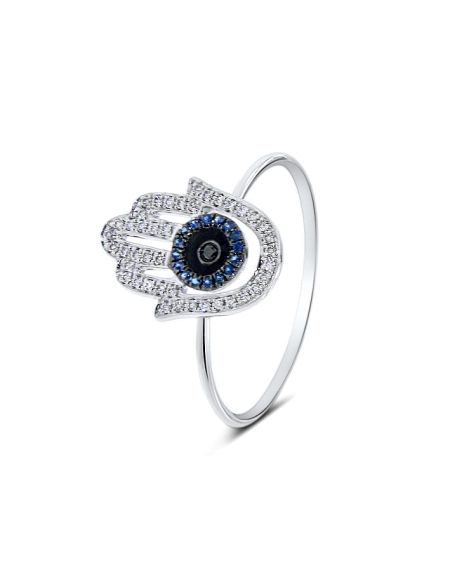 Hamsa Ring in 18k White Gold