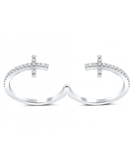 Double Cross Ring in 18k White Gold