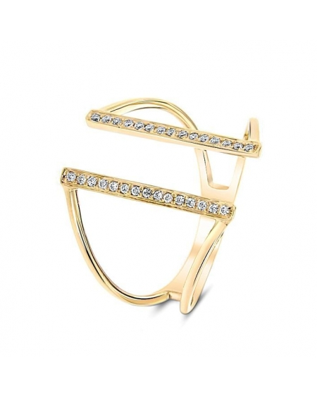 Bridge Diamond Ring in 18k Yellow Gold (0.09ct)