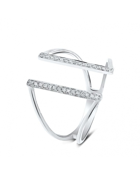 Bridge Diamond Ring in 18k White Gold (0.09ct)