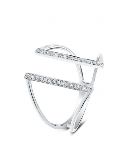 Bridge Ring in 18k White Gold