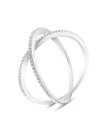 Dainty X Diamond Ring in 18k White Gold (0.22ct)