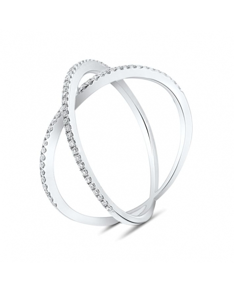 Dainty X Ring in 18k White Gold