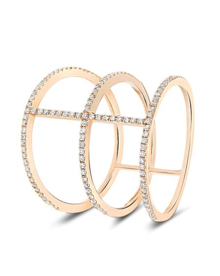 Three Band Diamond Ring in 18k Rose Gold (0.30ct)