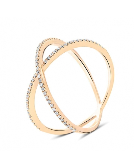 Dainty X Diamond Ring in 18k Rose Gold (0.22ct)