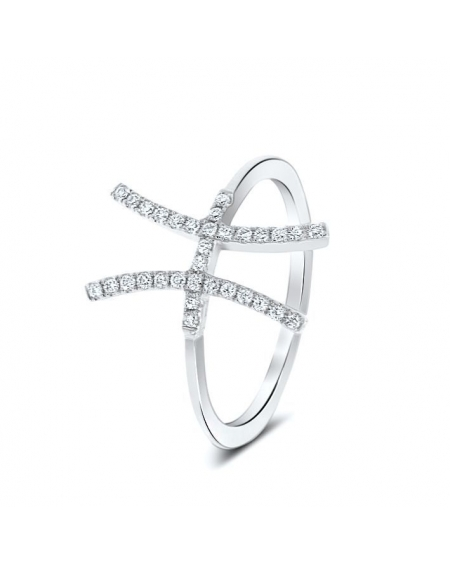 H Ring in 18k White Gold