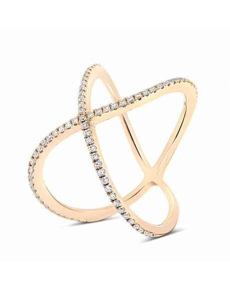 Modern X Ring in 18k Rose Gold