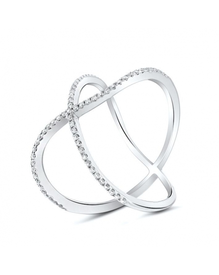 Modern X Ring in 18k White Gold