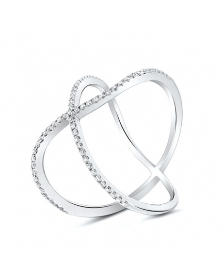 Modern X Diamond Ring in 18k White Gold 0 28ct