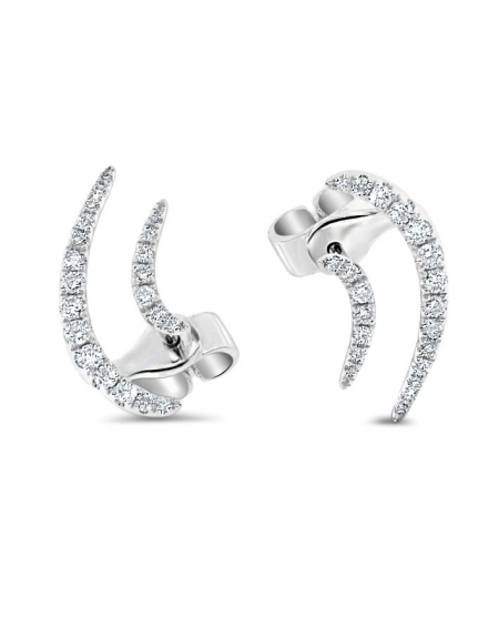 Swoosh Diamond Earrings in 18k White Gold