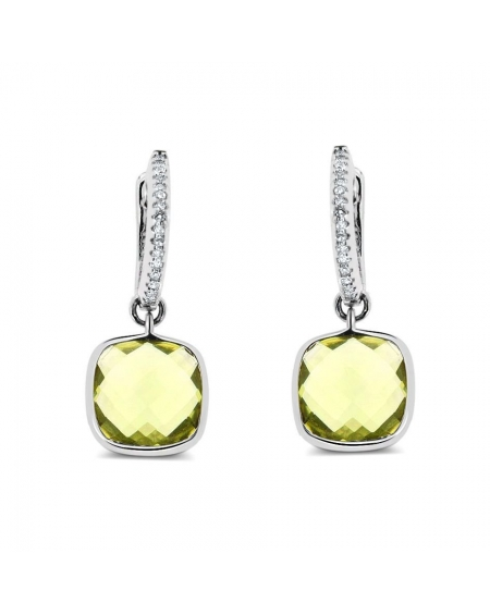 Cushion Drop Earrings in 14k White Gold