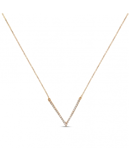 V Necklace in 18k Rose Gold