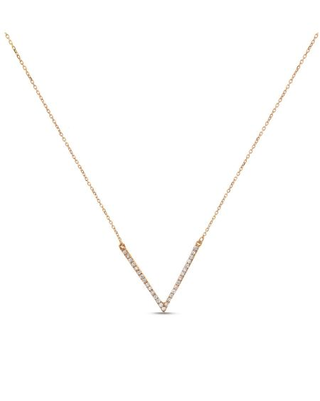 V Diamond Necklace in 18k Rose Gold
