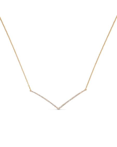 V Diamond Necklace in 18k Rose Gold (0.25ct)