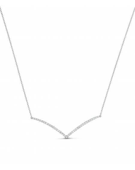 V Necklace in 18k White Gold