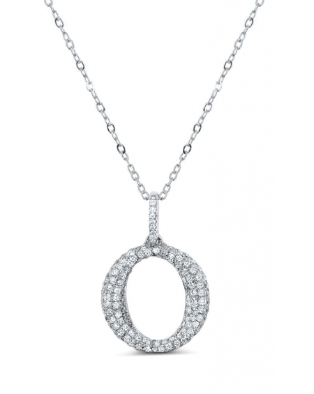 O Diamond Necklace in 18k White Gold