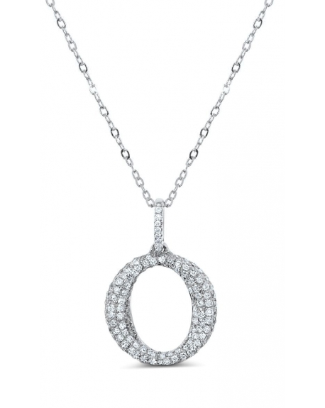 O Necklace in 18k White Gold