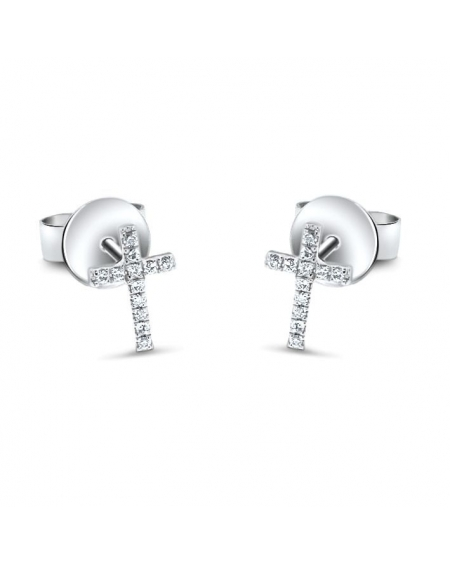 Cross Studs in 18k White Gold