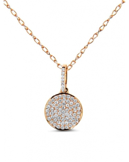 Disc Diamond Pave Necklace in 18k rose gold