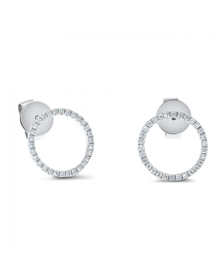 Circle Diamond Studs in 18k White Gold