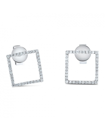 Square Diamond Studs in 18k White Gold