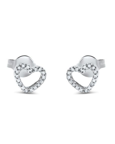 Medium Heart Studs in 14k White Gold