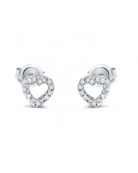 Small Heart Studs in 14k White Gold