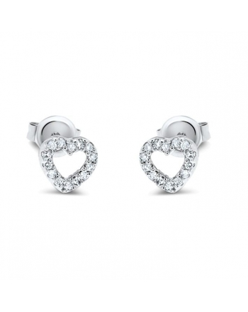 Small Heart Diamond Studs in 14k White Gold