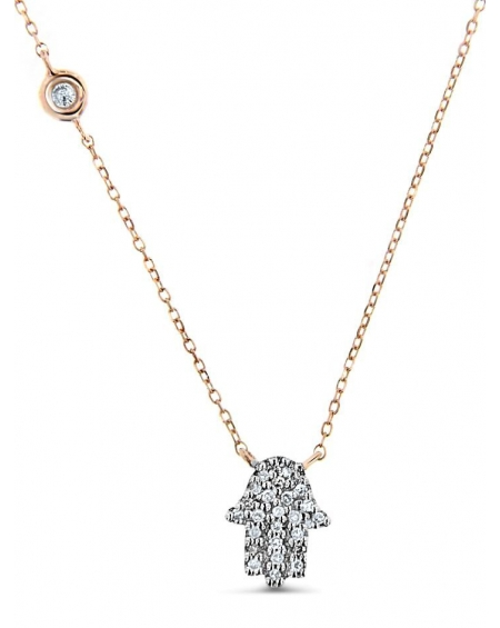 Hamsa Necklace in 14k rose gold
