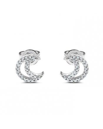 Moon Diamond Studs in 14k White Gold