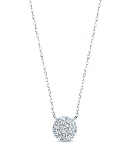 Circle Pave Diamonds Necklace in 14k white gold