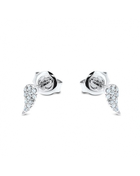 Angel Wing Diamond Studs in 14k White Gold