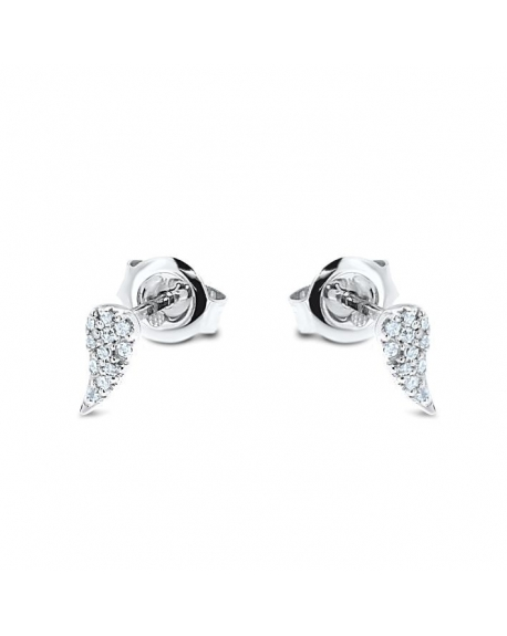 Wings Studs in 14k White Gold