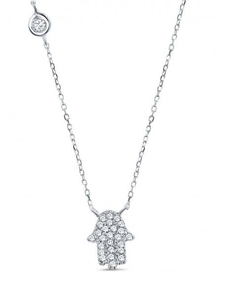 Hamsa Necklace in 14k white gold