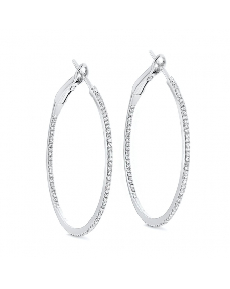 Medium Hoops in 18k White Gold