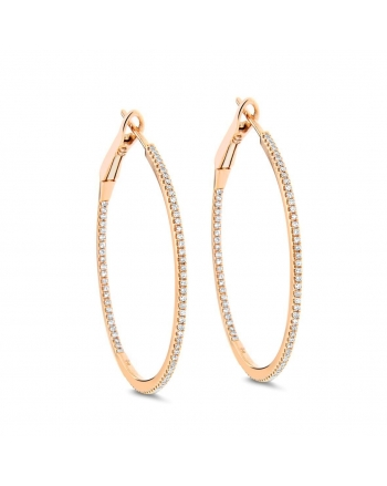 Medium Diamond Hoops in 18k Rose Gold (0.34ct)