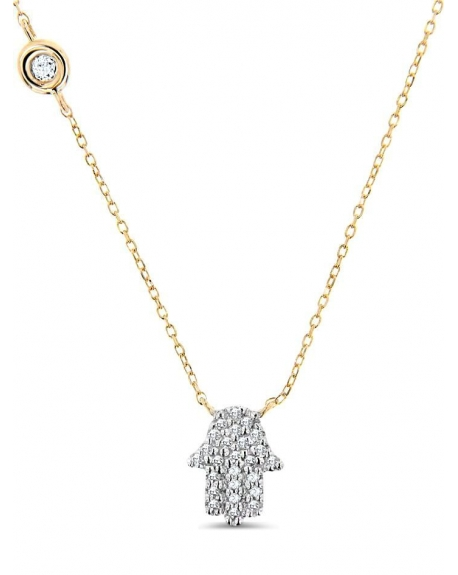 Hamsa Necklace in 14k yellow gold
