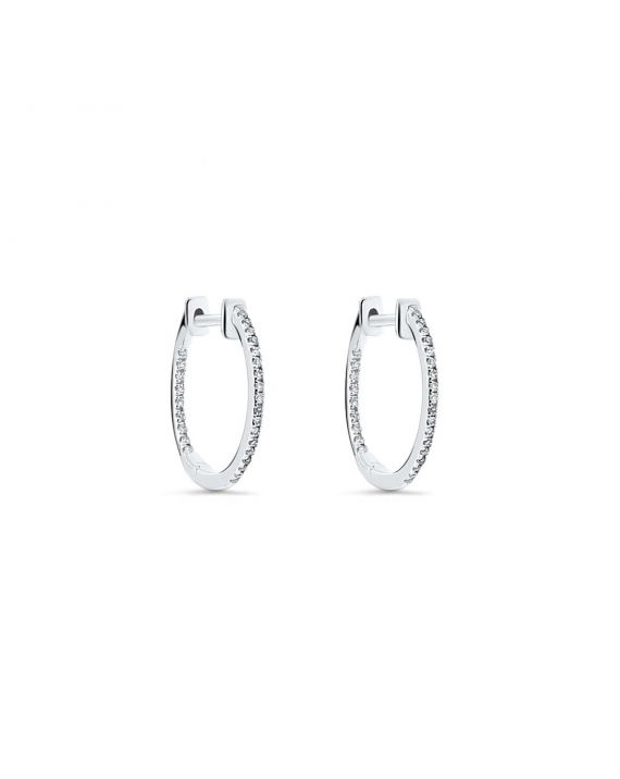 Small Diamond Hoops in 18k White Gold