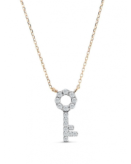 14k Rose Gold Key Necklace With Round Diamonds In USA | Cosanuova