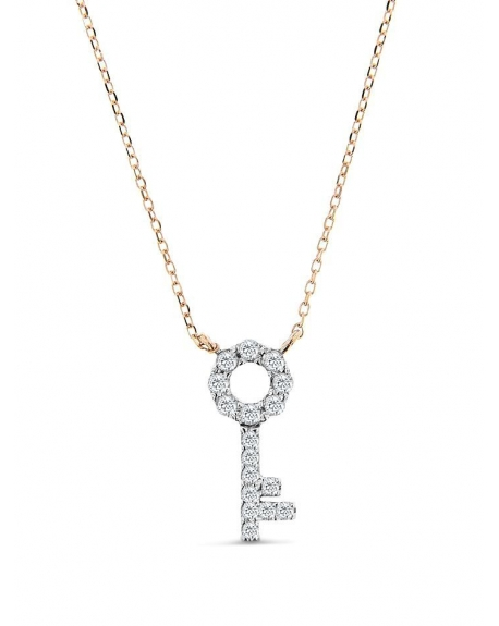 14k Rose Gold Key Necklace With Round Diamonds In USA Cosanuova