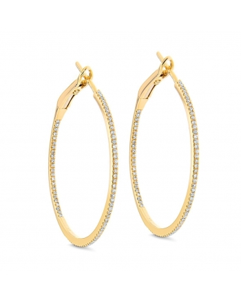 Medium Diamond Hoops in 18k Yellow Gold