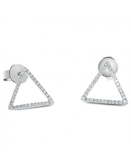 Triangle Studs in 18k White Gold