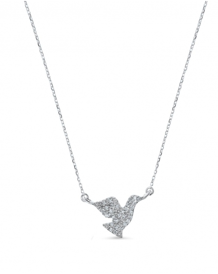 Dove Necklace in 14k white gold