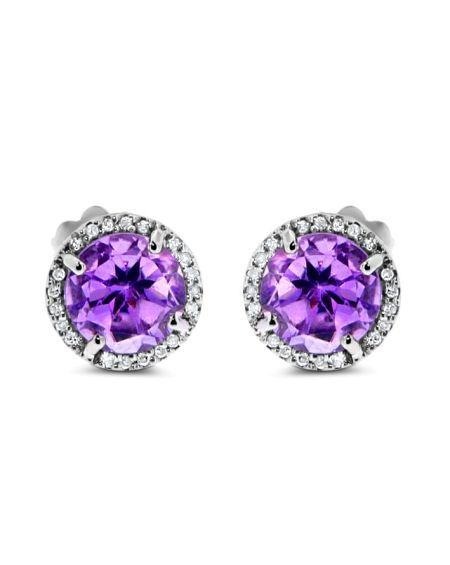 Amethyst Studs in 14k White Gold