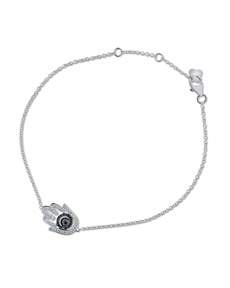 Hamsa Bracelet in 18k White Gold