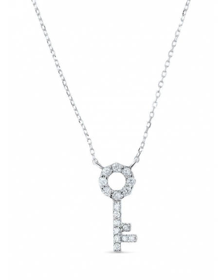 14k Gold Key Necklace with round Diamond | Cosanuova