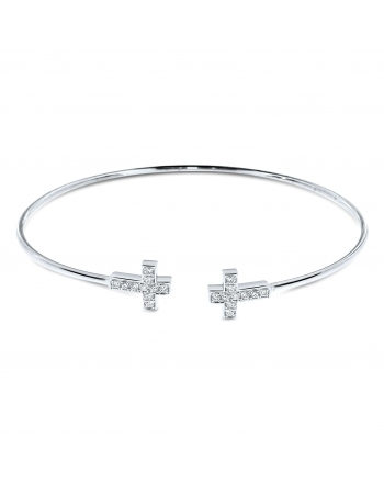 Diamond Cross Bangle in 18k White Gold