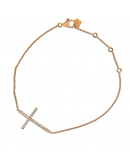 Cross Bracelet in 18k Rose Gold
