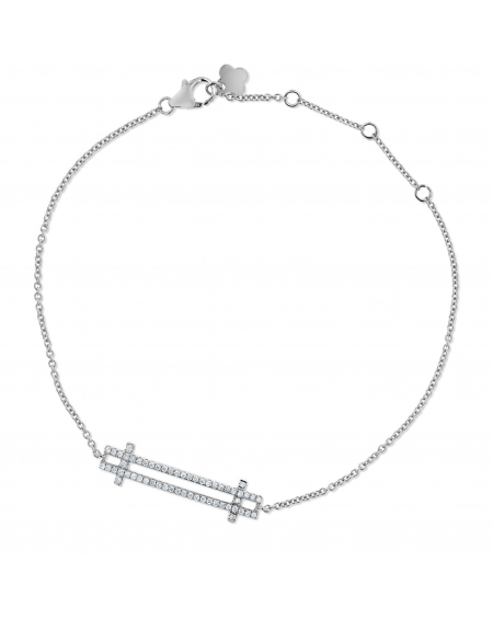 Double Bar Bracelet in 18k White Gold